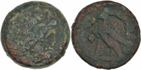 Ptolemaic kingdom of Egypt. Ptolemy VI Philometor 180-170 BC. Æ Obol (20mm, 12.37 g, 12h). Uncertain mint on Cyprus. Diademed head of Zeus-Ammon right...