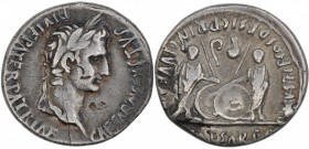 Augustus. 27 BC-AD 14. AR Denarius (19mm, 3.71g, 11h). Lugdunum (Lyon) mint. Struck 2 BC-AD 12. Laureate head right / Caius and Lucius Caesars standin...