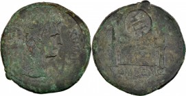 Gallia Lugdunensis. Æ As (27mm, 10.73 g, 3h). Countermark applied during the reign of Tiberius, AD 14-37. TIB in circular countermark with indentation...