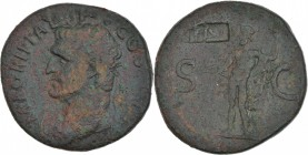 Germania Superior. Æ As (27mm, 10.71g, 7h). Countermark applied during the reign of Nero, AD 54-68 or the Flavians, AD 69-96. Imitative TI (AV) in a r...