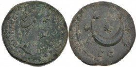 Diva Faustina Senior. Died AD 140/1. Æ As (26mm, 11.67g, 11h). Rome mint. Struck under Antoninus Pius, circa AD 141-146. Draped bust right / Crescent ...