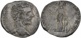 Clodius Albinus. As Caesar, AD 193-195. AR Denarius (16mm, 2.86g, 5h). Rome mint. Struck under Septimius Severus, AD 194-195. Bare head right / Minerv...