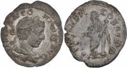 Elagabalus. AD 218-222. AR Denarius (18mm, 2.24g, 6h). Rome mint. Struck AD 219-220. IMP ANTONINVS AVG, laureate and draped bust right / P M TR P II C...