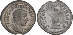 Gordian III. AD 238-244. AR Denarius (20mm, 1.42 g, 6h). Rome mint, 3rd officina. 7th emission, mid AD 240. Laureate, draped, and cuirassed bust right...