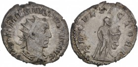 Aemilian. AD 253. AR Antoninianus (22mm, 3.90g, 1h). Rome mint. 2nd emission. Radiate, draped, and cuirassed bust right / ERCVL VICTORI, Hercules stan...