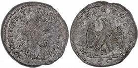 Syria, Seleucis and Pieria. Antioch. Trebonianus Gallus. AD 251-253. Billon Tetradrachm (25mm, 11.93g, 6h). 7th officina. Struck AD 251. Laureate, dra...