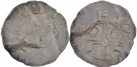 Belgium. Lower Lorraine. Albert II 1031-1063. AR Denar (17mm, 0.97g). Dinant mint. [A ]LBE[RTVS], diademed bust left / ðEO[NAM], dual crosslines with ...