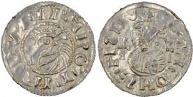 Czech Republic. Bohemia. Jaromir, 1003, 1004 - 1012, 1033 - 1034. AR Denar (20mm, 0.84 g). Prague mint. +I•AROMIR:DVX:, crowned bust left, in front cr...