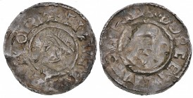 Denmark. Knud den Store (the Great). 1019-1035. AR Penning (20mm, 1.63g, 7h). Small cross type as Aethelred. Lund mint, Thoreketill moneyer. +CNVT REX...