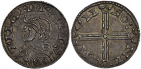 Denmark. Magnus den Gode (the Good). 1042-1047. AR Penning (17mm, 1.04g, 3h). Lund mint; moneyer Hune. Struck 1042-circa 1044. +MAHNVS REX:, helmeted ...