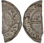 Denmark. Svend Estridsen. 1047-1075. AR Half penning (8mm, 0.33g). West Danish mint (?). IIIIII•I [?], draped bust left; cross-tipped scepter before /...