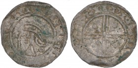 Denmark. Svend Estridsen. 1047-1075. AR Penning (16mm, 1.12 g). West Danish mint, possibly Aarhus or Aalborg. Draped bust left with wild hair, holding...