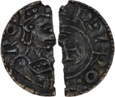 Denmark. Harald Hen. 1075-1080. AR (cut) penning (9mm, 0.45 g). Roskilde mint; moneyer Esbern (?). [•HA] RO, crowned bust right holding sword in right...
