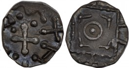Anglo-saxon, Continental Sceattas. Circa 695-740. AR Sceatta (11mm, 1.17g). Series D, type 8. Mint in Frisia. Cross with annulets in quarters; pseudo-...