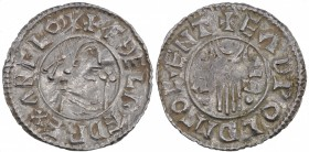 England. Aethelred II. 978-1016. AR Penny (20mm, 1.45 g, 9h). Second hand type (BMC iid, Hild. B2). Canterbury mint; moneyer Eadwold. Struck circa 985...