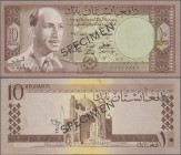 "Afghanistan: Da Afghanistan Bank 10 Afghanis SH1340 (1961) SPECIMEN, P.37s with black overprint ""Specimen"" and zero serial number in Arabic numbers, s..."