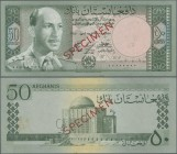 "Afghanistan: Da Afghanistan Bank 50 Afghanis SH1340 (1961) SPECIMEN, P.39s with red overprint ""Specimen"" and zero serial number in Arabic numbers, som..."