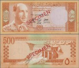 "Afghanistan: Da Afghanistan Bank 500 Afghanis SH1340 (1961) SPECIMEN, P.40As with red overprint ""Specimen"" and zero serial number in Arabic numbers, s..."