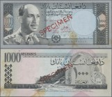 "Afghanistan: Da Afghanistan Bank 1000 Afghanis SH1340 (1961) SPECIMEN, P.42as with red overprint ""Specimen"" and zero serial number in Arabic numbers, ..."