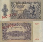 "Austria: Österreichische Nationalbank 10 Schilling 1950 SPECIMEN, P.127s with red overprint and perforation ""Muster"", regular serial number on reverse..."