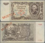 "Austria: Österreichische Nationalbank 20 Schilling 1950 SPECIMEN, P.129as with red overprint and perforation ""Muster"", regular serial number on revers..."