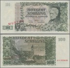 "Austria: Österreichische Nationalbank 100 Schilling 1954 SPECIMEN, P.133s with red overprint and perforation ""Muster"", regular serial number on revers..."