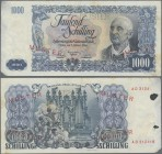 "Austria: Österreichische Nationalbank 1000 Schilling 1954 SPECIMEN, P.135s with red overprint and perforation ""Muster"", regular serial number on rever..."