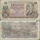 "Austria: Österreichische Nationalbank 20 Schilling 1956 SPECIMEN, P.136s with red overprint and perforation ""Muster"", regular serial number on reverse..."