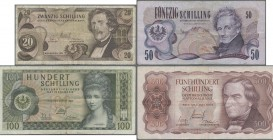 Austria: Lot with 8 banknotes series 1965 – 1970 comprising 20 Schilling 1967 P.142 (F-), 50 Schilling 1970 P.143 (F), 100 Schilling 1969 P.145 (F-), ...