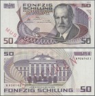 "Austria: Österreichische Nationalbank 50 Schilling 1986 SPECIMEN, P.149s with red overprint ""Muster"", regular serial number on reverse, almost perfect..."