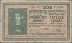 Austria: Oesterreichisch-Ungarische Bank / Osztrák-Magyar Bank 200 Kronen 1918 without serial letter and serial number 000 015 (without comma after th...