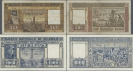 Belgium: Banque Nationale de Belgique pair with 500 Francs 1945 P.127a (F-) and 1000 Francs 1945 P.128b (tiny hole at center, otherwise VF). (2 pcs.)