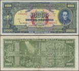 Bolivia: 10.000 Bolivares 1945, P.146, lightly stained paper with a few folds. Condition: VF
