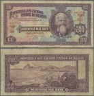 Brazil: República dos Estados Unidos do Brasil 200 Mil Reis ND(1936), P.82, still nice and attractive banknote with some folds and lightly toned paper...