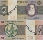 "Brazil: Banco Central do Brasil 10 Cruzeiros ND(1970-79) SPECIMEN, P.193s with black serial number A00000*00000, black overprint ""Sem Valor"" and perfo..."