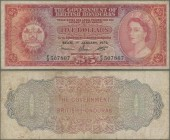 British Honduras: 5 Dollars 1973, P.30c, lightly stained paper with several folds. Condition: F. Rare!