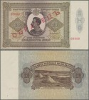 Bulgaria: 20 Leva 1928 SPECIMEN, P.49As, almost perfect with a few tiny creases at lower right and upper left. Condition: aUNC. Very Rare!