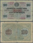 "Bulgaria: 100 Leva Zlato ND(1960) P. 20c with red overprint ""Series A"" and red ornament overprint in center, with serial prefix ""Z"". The note has an d..."