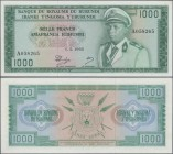 Burundi: Banque du Royaume du Burundi 1000 Francs 1965, P.14, highly rare banknote in excellent condition, just one soft vertical bend at center. Cond...