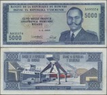 Burundi: Banque du Royaume du Burundi 5000 Francs 1968, P.26a, still great original shape with a few folds and minor creases in the paper. Condition: ...