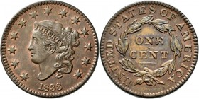Vereinigte Staaten von Amerika: 1833 Large Cent N-5 Brown Red Unc Purchased M&G Auctions August 1995, lot 246. Choice, lustrous, red and brown coin.