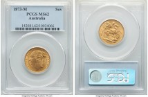 "Victoria gold ""St. George"" Sovereign 1873-M MS62 PCGS, Melbourne mint, KM7, S-3857. Displaying richly aged and attractive gold color.   HID09801242017..."