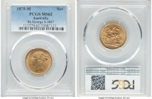 "Victoria gold ""St. George"" Sovereign 1875-M MS62 PCGS, Melbourne mint, KM7, S-3857. Cleanly struck, with ample satin brilliance.   HID09801242017  © 2..."