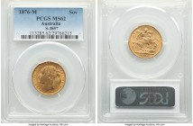 "Victoria gold ""St. George"" Sovereign 1876-M MS62 PCGS, Melbourne mint, KM7, S-3857. Fully Mint State, with deep gold color enlivening the planchet.   ..."