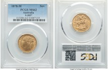 "Victoria gold ""St. George"" Sovereign 1878-M MS62 PCGS, Melbourne mint, KM7. Revealing scattered light handling in line with the grade, though not a si..."