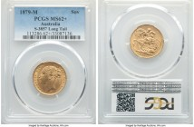 "Victoria gold ""St. George"" Sovereign 1879-M MS62+ PCGS, Melbourne mint, KM7, S-3857. Long Tail variety.   HID09801242017  © 2020 Heritage Auctions 