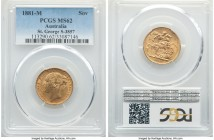 "Victoria gold ""St. George"" Sovereign 1881-M MS62 PCGS, Melbourne mint, KM7, S-3857. A glowing specimen whose only light dispersed friction establishes..."