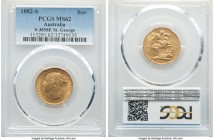 "Victoria gold ""St. George"" Sovereign 1882-S MS62 PCGS, Sydney mint, KM7, S-3858E. Exhibiting shimmering surfaces with an opaque reflectivity seen to t..."