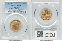 "Victoria gold ""St. George"" Sovereign 1883-M MS62+ PCGS, Melbourne mint, KM7, S-3857C. W.W. complete. Fully detailed and with velveteen surfaces holdin..."