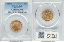 "Victoria gold ""St. George"" Sovereign 1884-S MS62 PCGS, Sydney mint, KM7, S-3858E. Slightly darkened over the surfaces from handling friction, satin br..."